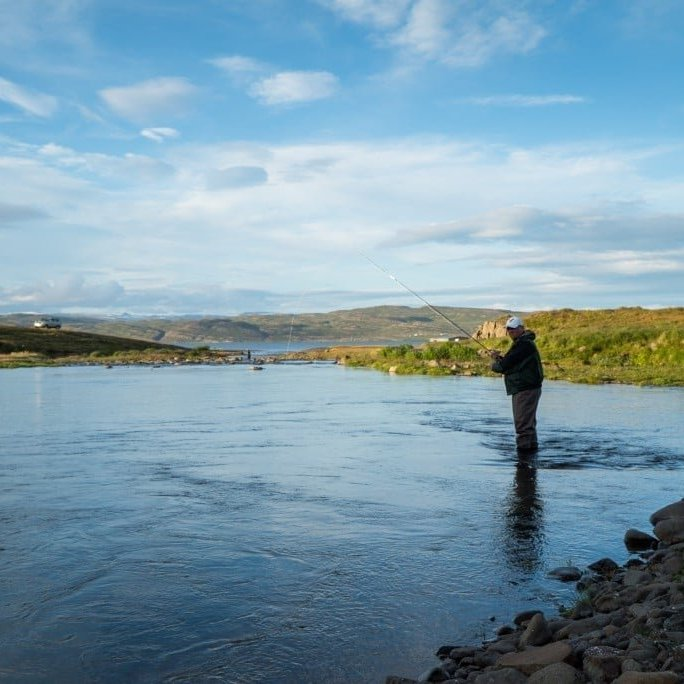 Trout fishing in one of the many rivers in Strandir region