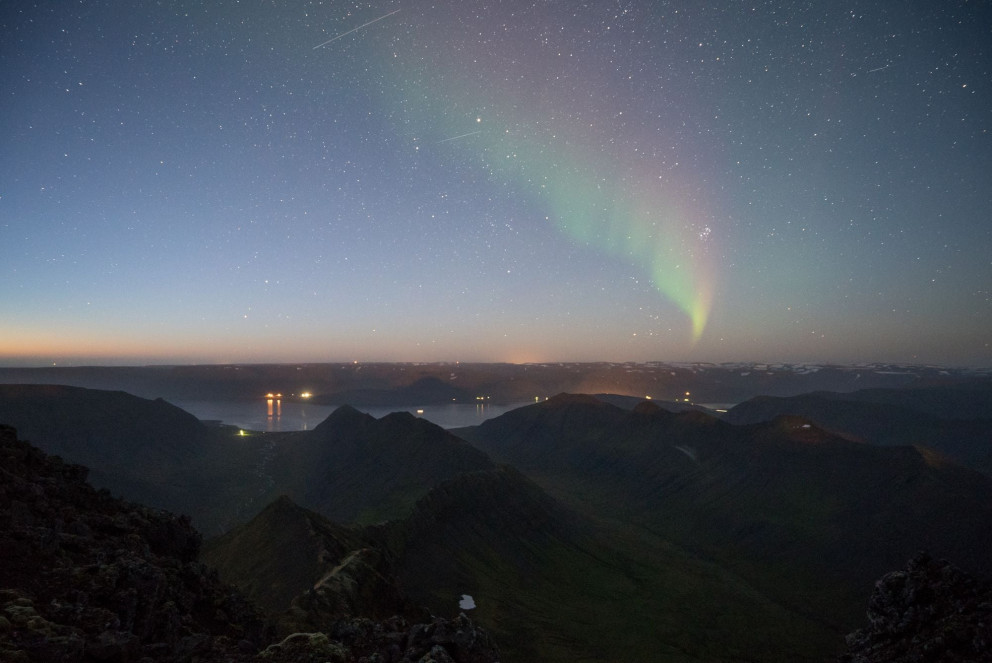 The Northern Lights show up in the Westfjords